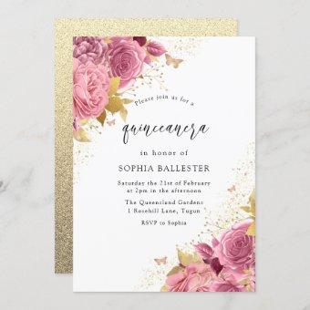 Magical Blush PInk Gold Flowers Party