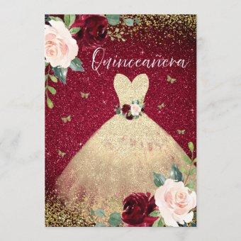 Magical Gold Dress Burgundy Red Floral
