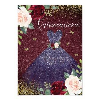 Magical Navy Dress Burgundy Red Floral
