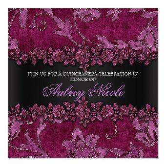 Maroon Faux Glitter & Velvet Floral