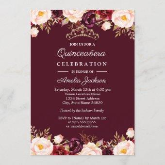 Marsala Red Burgundy Watercolor Floral