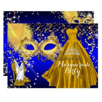 Mask Tiara Masquerade Gold Blue