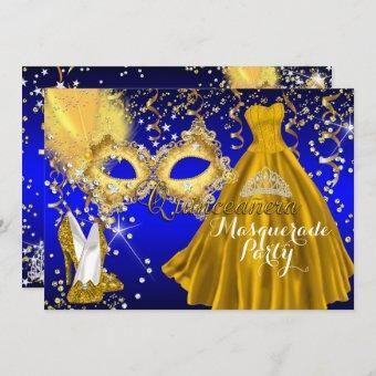 Mask Tiara Masquerade Gold Blue