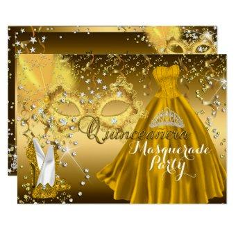 Mask & Tiara Masquerade Gold Invite