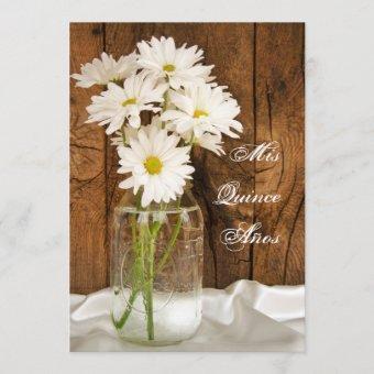 Mason Jar White Daisies Quinceañera Save the Date