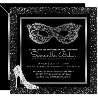 Masquerade Ball High Heels Black Silver Sweet 16