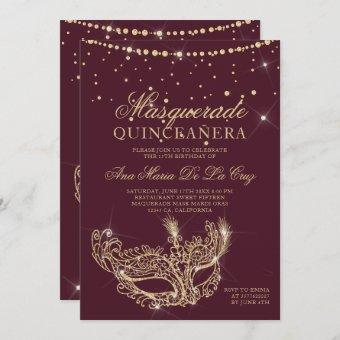 Masquerade gold glitter red burgundy