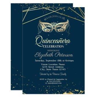 Masquerade,Gold, Navy Blue Quinceañera