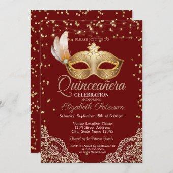 Masquerade, Lace, Diamonds Red Quinceañera