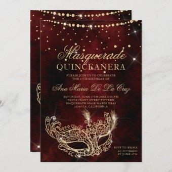 Masquerade mask chic red gold glitter