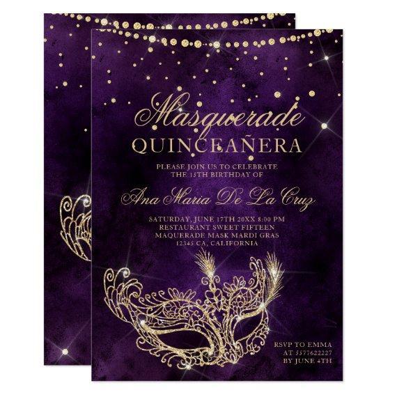 Masquerade mask purple gold glitter