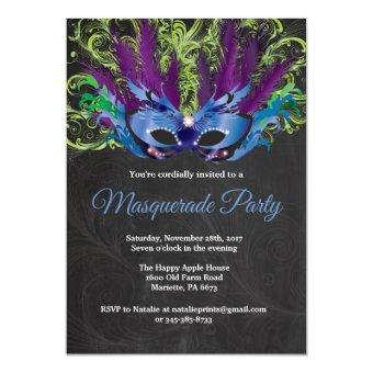 Masquerade Party Magical Night Blue Purple Green