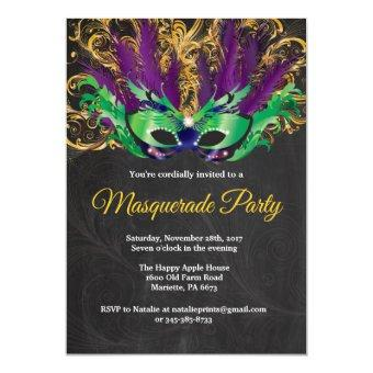 Masquerade Party Magical Night Green Purple Gold