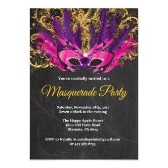 Masquerade Party Magical Night Pink Purple Gold