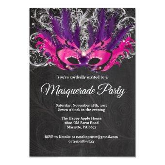 Masquerade Party Magical Night Pink Purple Silver