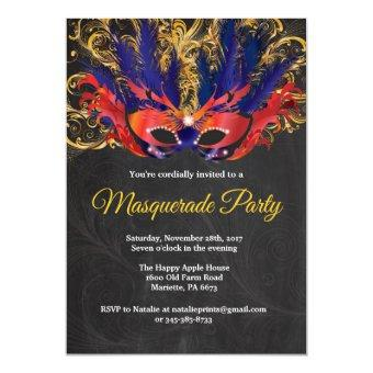 Masquerade Party Magical Night Red Gold Blue