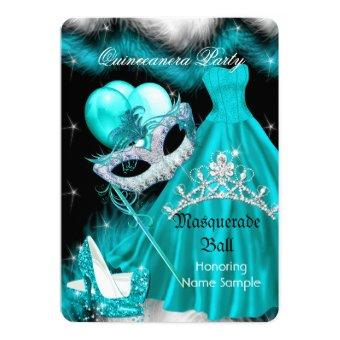 Masquerade Quinceanera Birthday Party Teal 3a Invitations