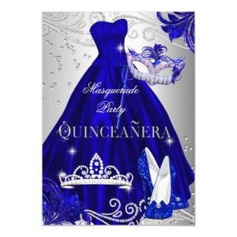 Masquerade Quinceanera Blue Silver Dress Heels Invitations