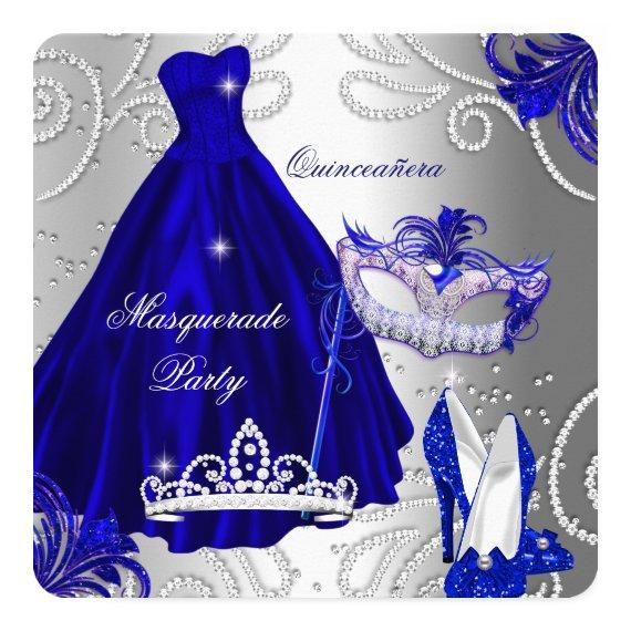 Masquerade Party Blue Silver Dress