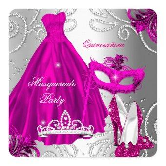 Masquerade Party Pink Silver Dress