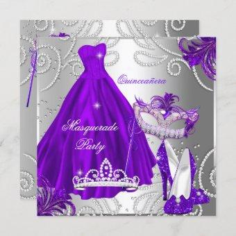 Masquerade Party Purple Silver Dress