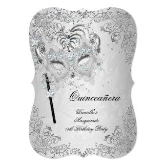 Masquerade Silver Quinceanera 15th Birthday Invitations