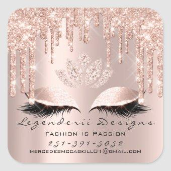 Mercedes Beauty Lashes Lotus Thank Mail Number Square Sticker