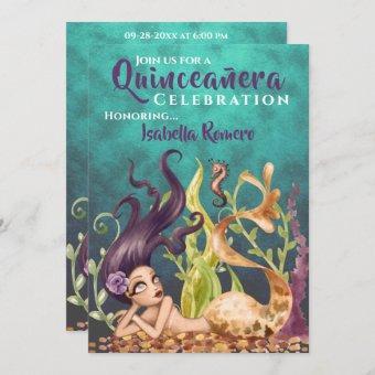 Mermaid and Seahorse Under the Sea Quinceañera