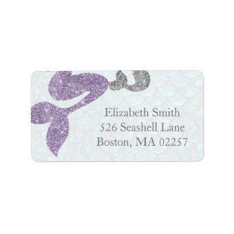 Mermaid Return Address Labels Glitter Mermaids
