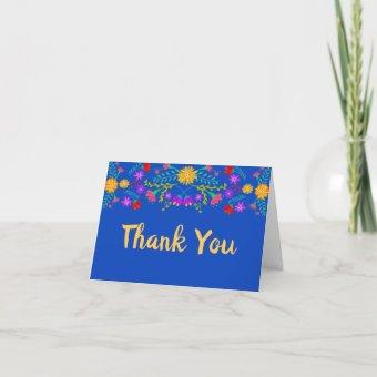 Mexican Fiesta Flowers Royal Blue Thank You