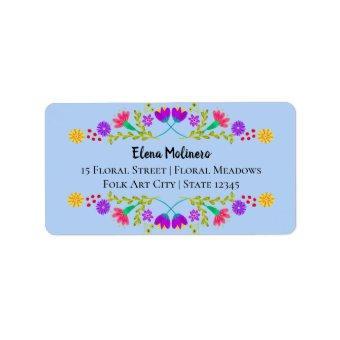 Mexican Fiesta Folk Art Flowers Light Blue Address Label