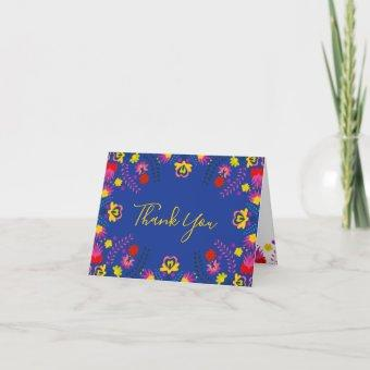 Mexican Fiesta Party Floral Blue Thank You