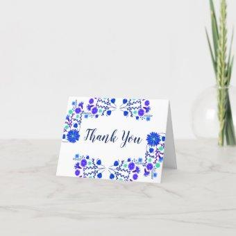 Mexican Floral Royal Blue Purple Thank You