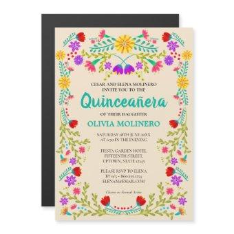 Mexican Folk Art Floral Champagne Magnetic