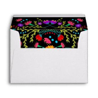 Mexican Papel Picado Fiesta Flowers Return Address Envelope