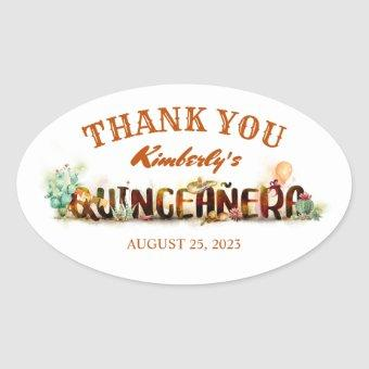 Mexican Birthday Thank You Oval Sticker