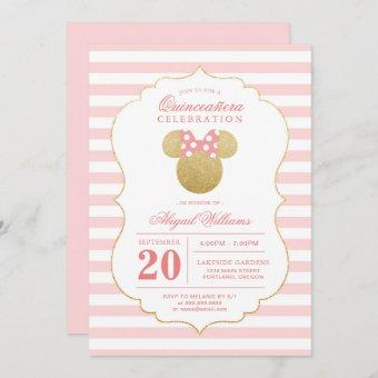 Minnie Mouse   Gold & Pink Quinceañera Celebration