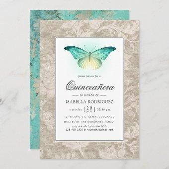 Mint Green and Pearl Damask Quinceañera
