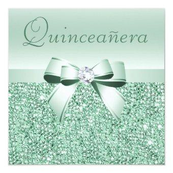 Mint Green Sequins, Bow & Diamond