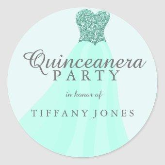 Mint Teal Sparkling Glitter Gown Party Classic Round Sticker