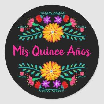 Mis Quince Anos Black Pink Mexican Fiesta Flowers Classic Round Sticker