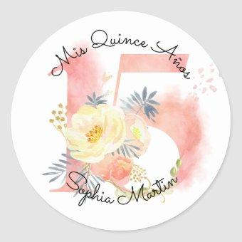 Mis Quince Anos Blush Pink Watercolor Floral 15 Classic Round Sticker