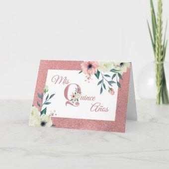 Mis Quince Anos Pink Glitter Flower Letter Floral