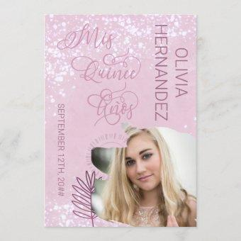 Mis Quince Anos Pink Watercolor Splatter Photo
