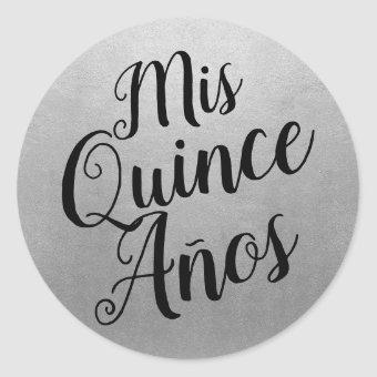 Mis Quince Años Quinceañera Black and Silver Favor Classic Round Sticker