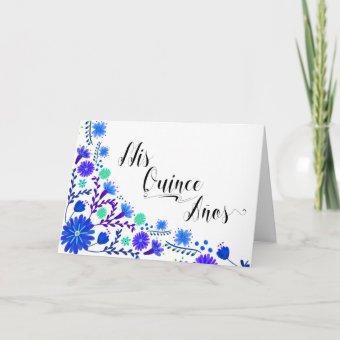 Mis Quince Anos Royal Blue Floral
