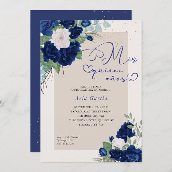 Mis Quince Anos Royal Blue Navy Floral