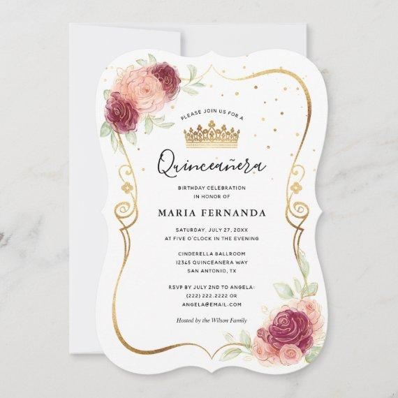 Mis Quince Burgundy Blush Gold Floral