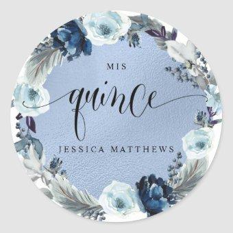 Mis Quince, Spanish, Blue Floral Wreath Classic Round Sticker