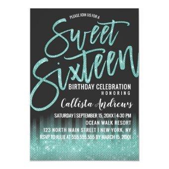Modern Black Aqua Glitter Typography Sweet 16